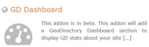 GeoDirectory – GD Dashboard